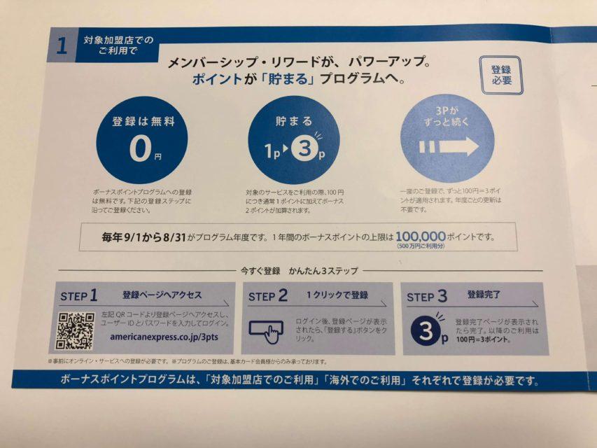 Amexプラチナカード、100円で3ポイント貯まる特典_パンフレット_国内利用